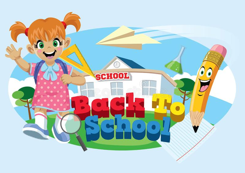 Cute school girl with back to school concept vector illustration