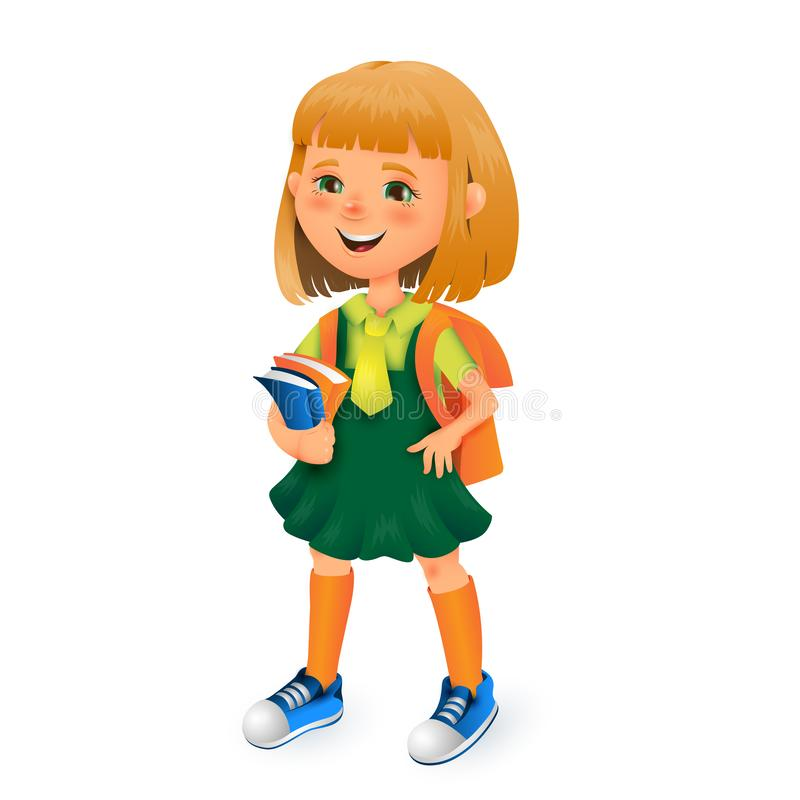 Cute school girl with bag and books in hands. Vector 3D cartoon illustration isolated on white background for poster vector illustration