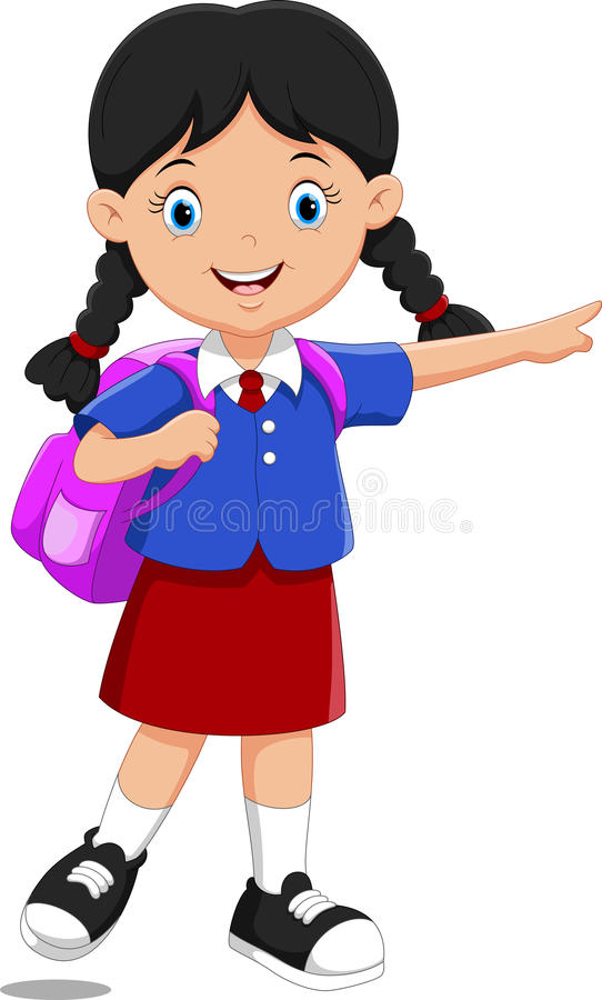 cute school girl cartoon with backpack stock illustration rh dreamstime com school girl clipart black and white high school girl clipart