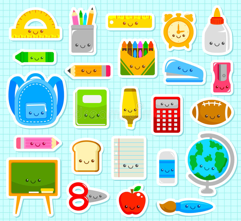 Cute school items. Collection of cute cartoon school supply items