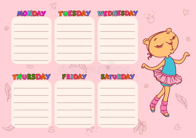Cute School Schedule Template With CatGirl Vector Printable