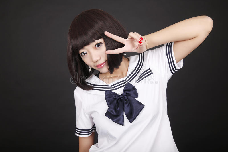 Download Cute schoolgirl. stock image. Image of love, coed, china - 12873487