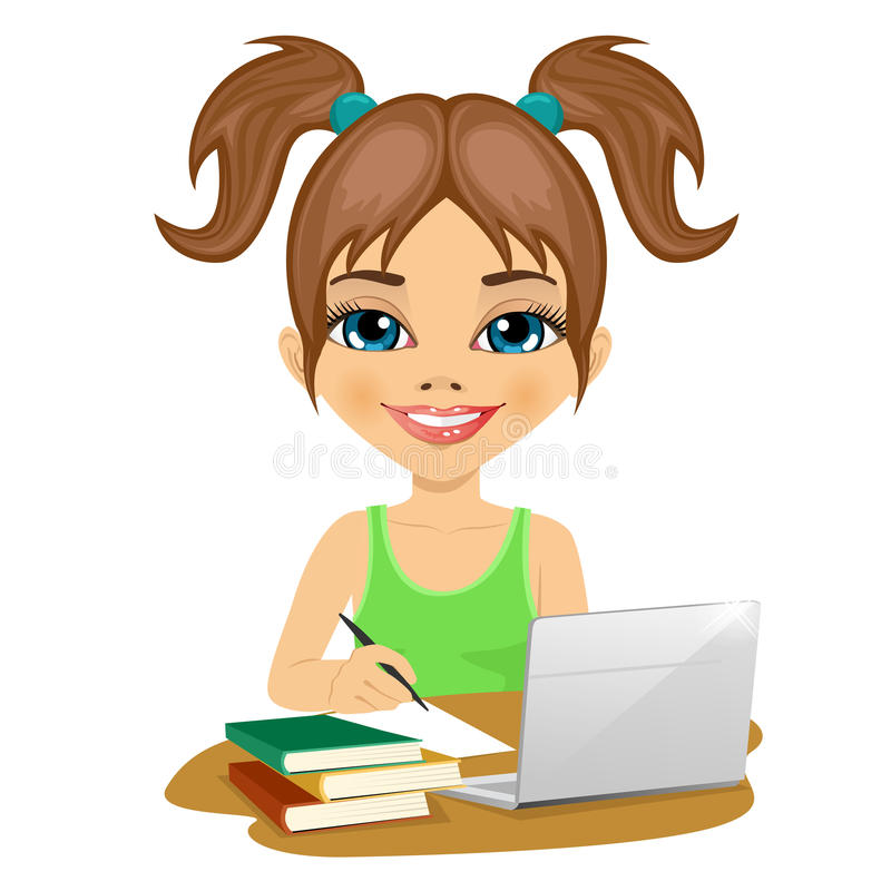Cute schoolgirl doing homework with laptop and books on desk. On white background royalty free illustration