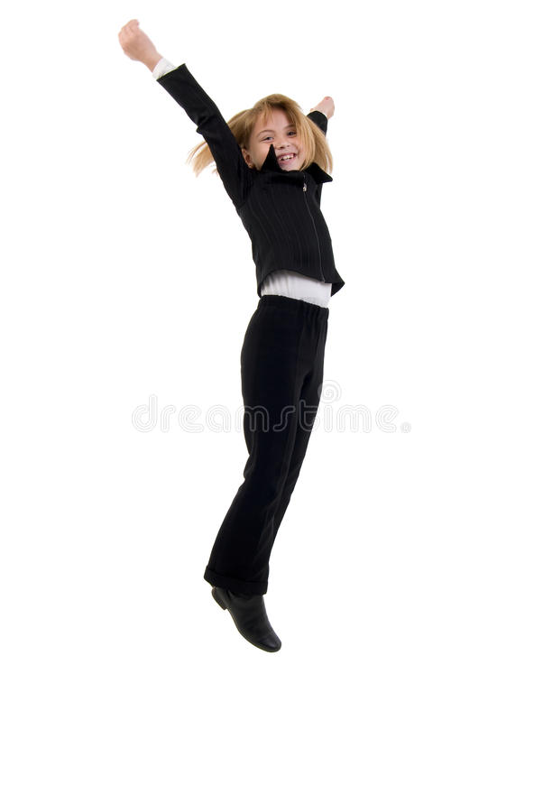 Download Cute Schoolgirl Jumping. stock photo. Image of excited - 12066406