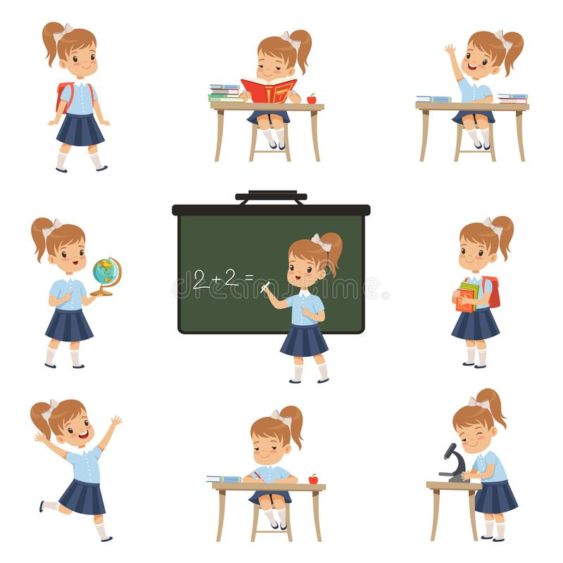 Cute schoolgirl student in uniform in various activities set, girl at lessons of biology, geography, mathematics vector. Illustrations isolated on a white vector illustration