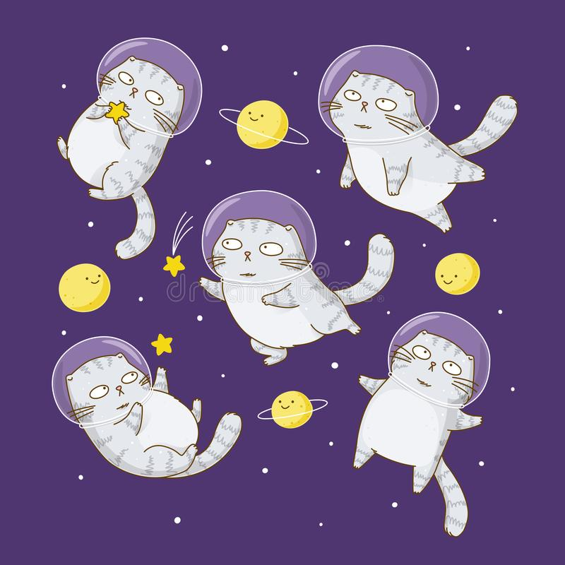 Cute scottishfold cats astronauts. On starry space background royalty free illustration