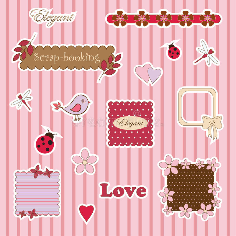 Cute scrap-booking. Different elements on striped background royalty free illustration
