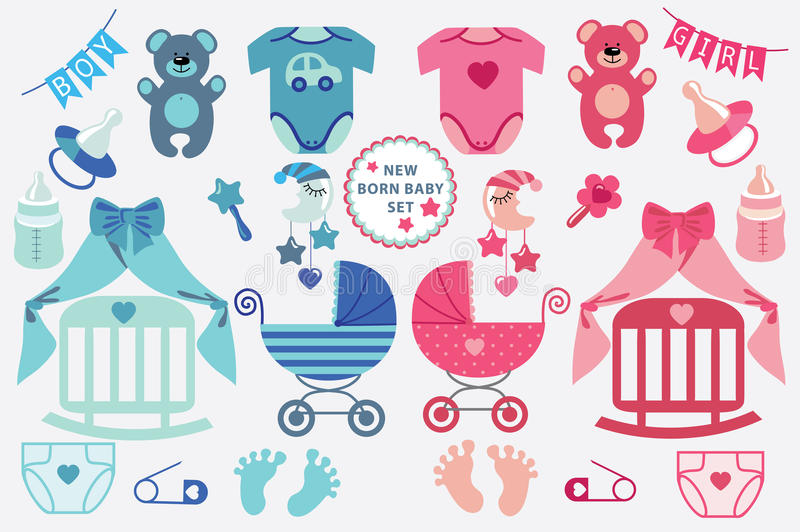 Cute scrapbooking elements for newborn baby stock illustration