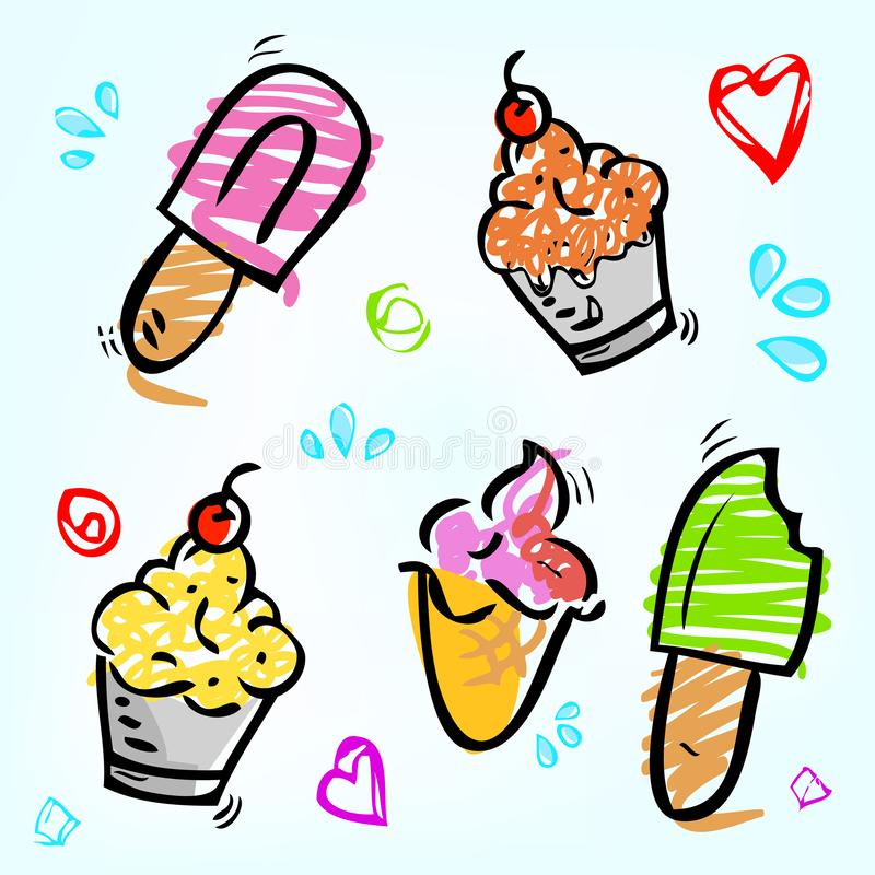 5 cute scribble pink, purple, red, brown, yellow and green, ice cream, stick, cone and cup with love, square, circle and water stock illustration