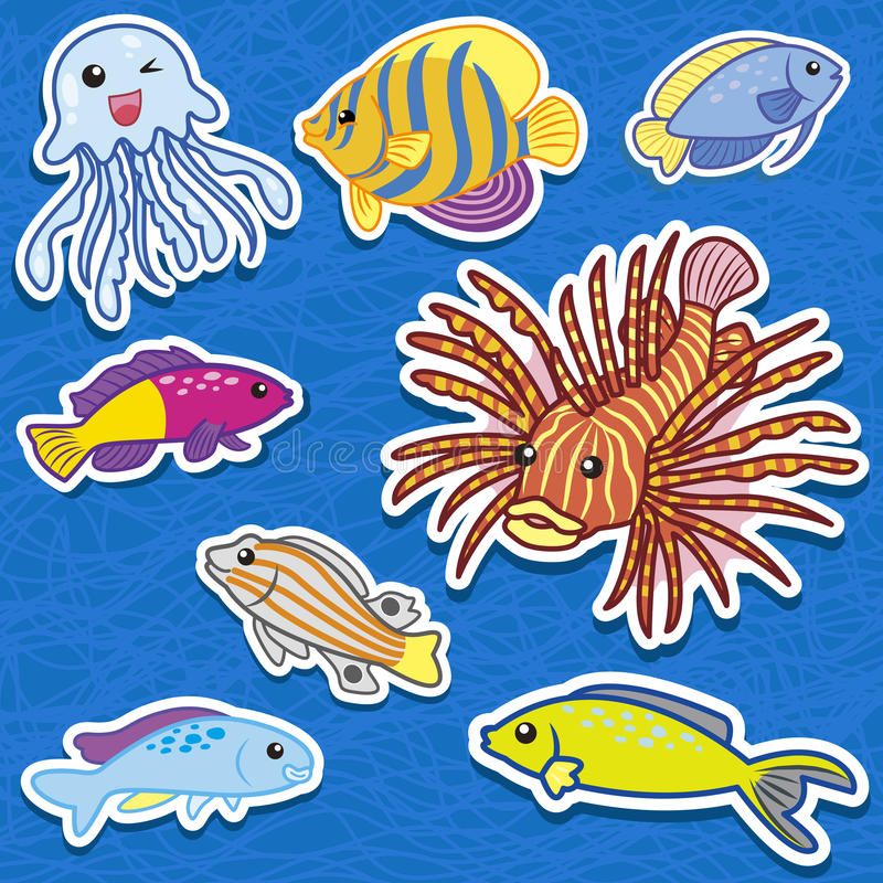 Download Cute sea animal stickers09 stock vector. Image of adorable - 27508343