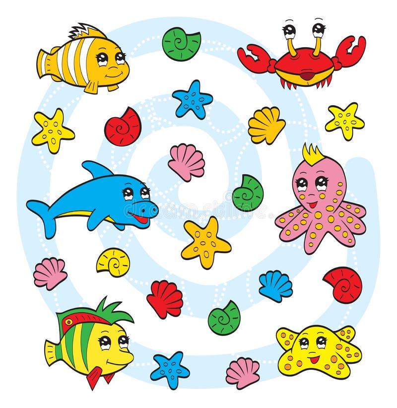 Download Cute sea animals stock vector. Image of mollusk, blue - 26976310