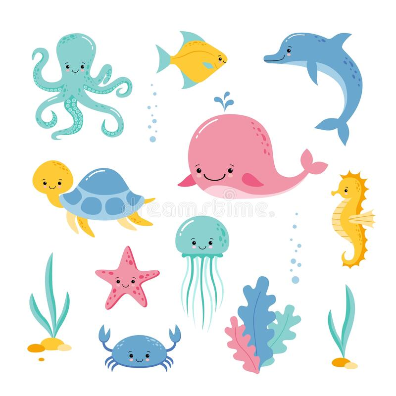 Cute sea creatures and animals vector icons isolated on white background. Kawaii style. Baby sea creatures and animals vector icons isolated on white Underwater royalty free illustration