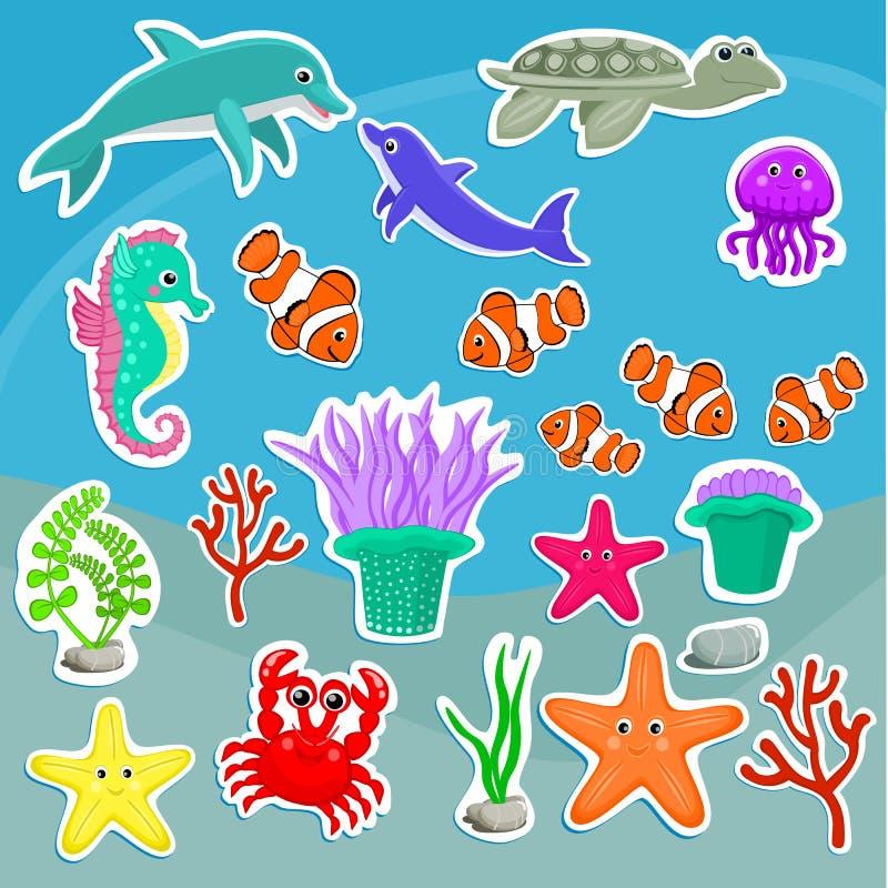 Cute sea creatures Cartoon animal stickers Starfish, jellyfish, dolphin, crab, turtle, sea anemone, clown fish, seahorse, coral stock illustration