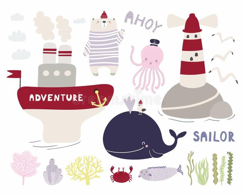 Cute sea set with bear sailor royalty free illustration