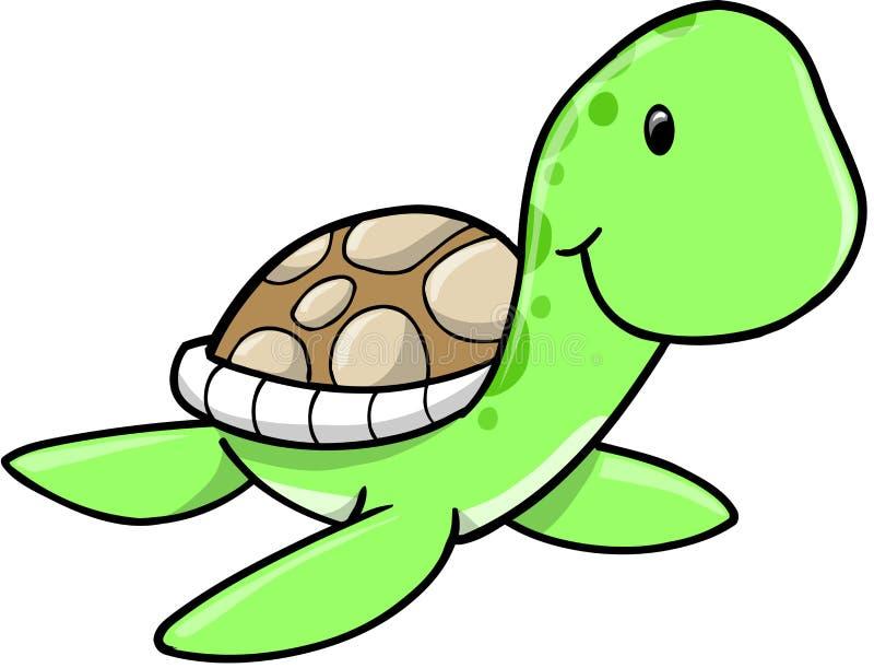 Download Cute Sea Turtle stock vector. Image of spots, swim, green - 12429975