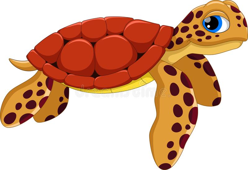 Cute sea turtle cartoon. Funny and adorable royalty free illustration
