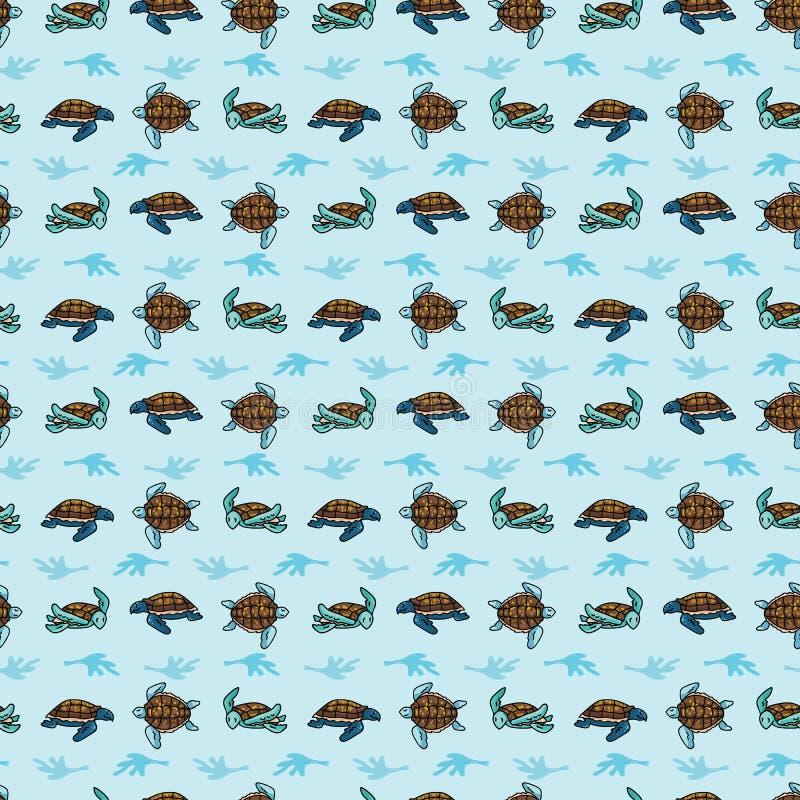Cute sea turtle group grid cartoon seamless vector pattern. Hand drawn endangered ocean life tile stock illustration
