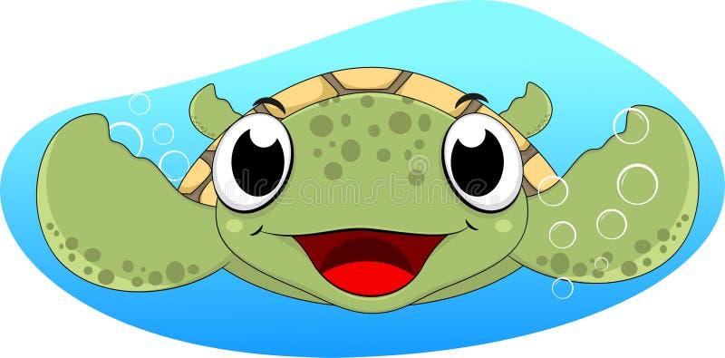 Cute Sea Turtle Swimming stock illustration