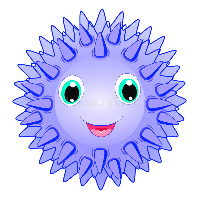 Cute sea urchin vector Smiling spiky animal cartoon character isolated on white background Ocean animal, funny sea life theme royalty free illustration