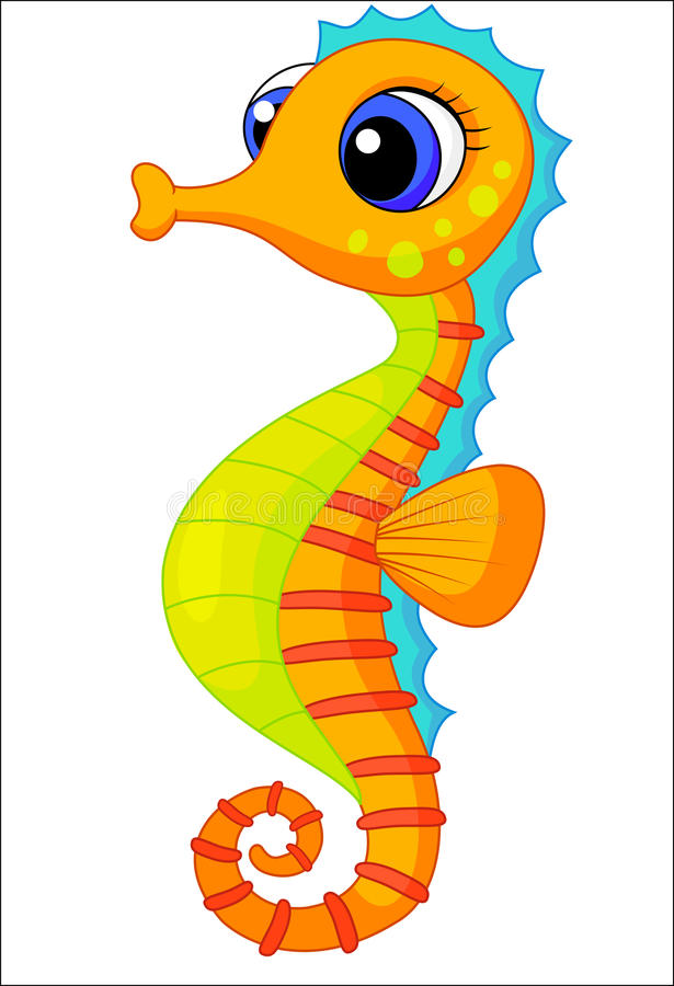Cute seahorse cartoon royalty free illustration
