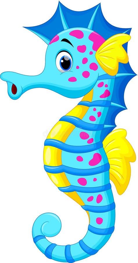 Cute seahorse cartoon vector illustration