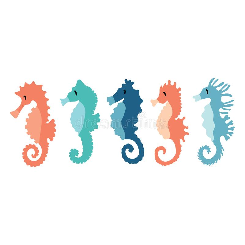 Cute seahorse group cartoon vector illustration motif set. Hand drawn isolated ocean animals elements clipart for nautical royalty free illustration