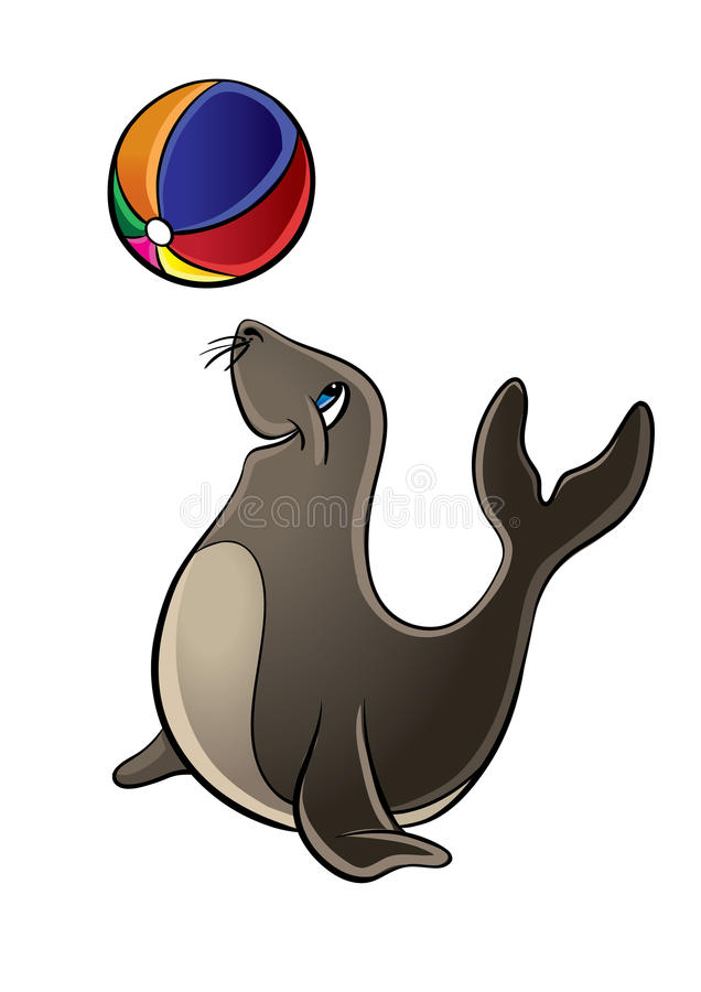 Cute Seal Playing With Ball Stock Photography