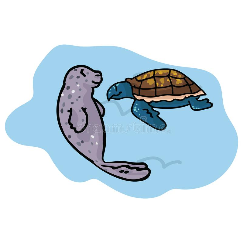 Cute seal and turtle clipart. Hand drawn ocean life. vector illustration