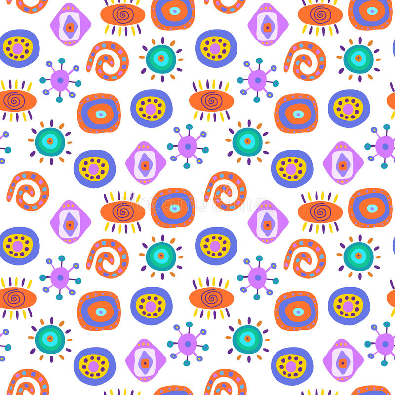 Cute seamless abstract pattern with ethnic elements royalty free illustration