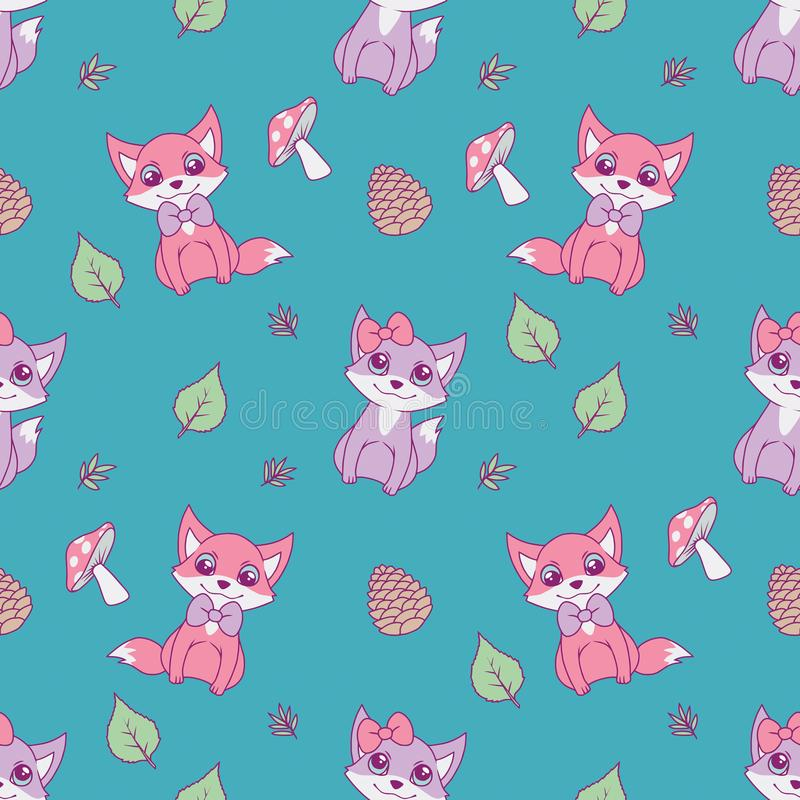 Cute seamless animal pattern for children designs with pastel pink and violet foxes, leaves and mushrooms on bright teal backgroun stock illustration
