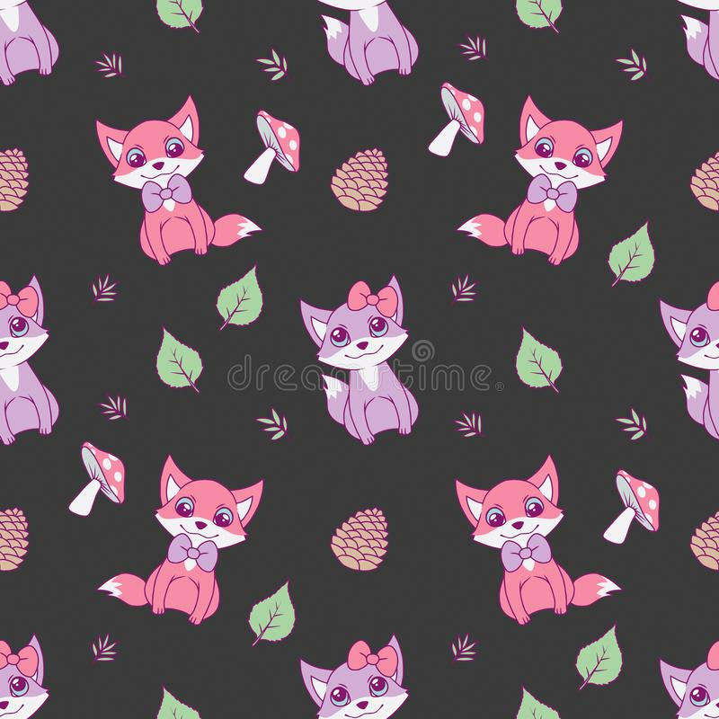 Cute seamless animal pattern for children designs with pastel pink and violet foxes, leaves and mushrooms on dark black background royalty free illustration