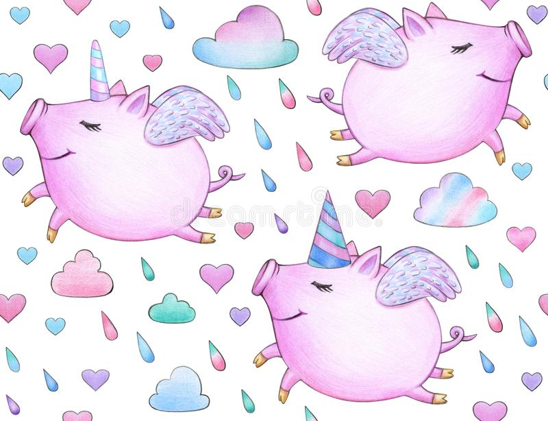 Cute seamless baby pattern, funny piglets. royalty free illustration