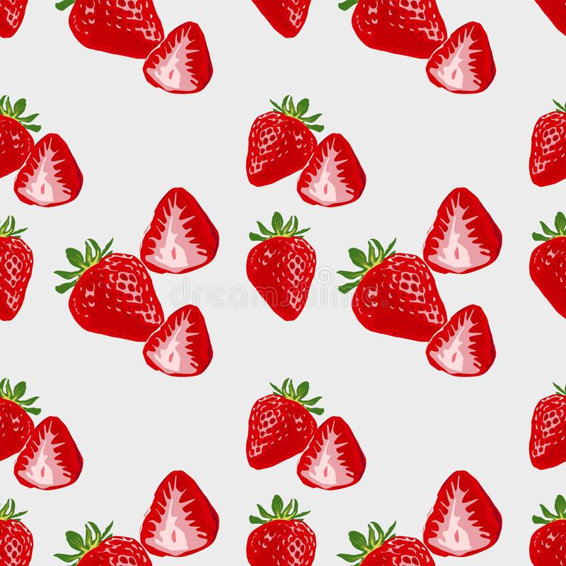 Cute seamless background with delicious ripe strawberries. vector illustration