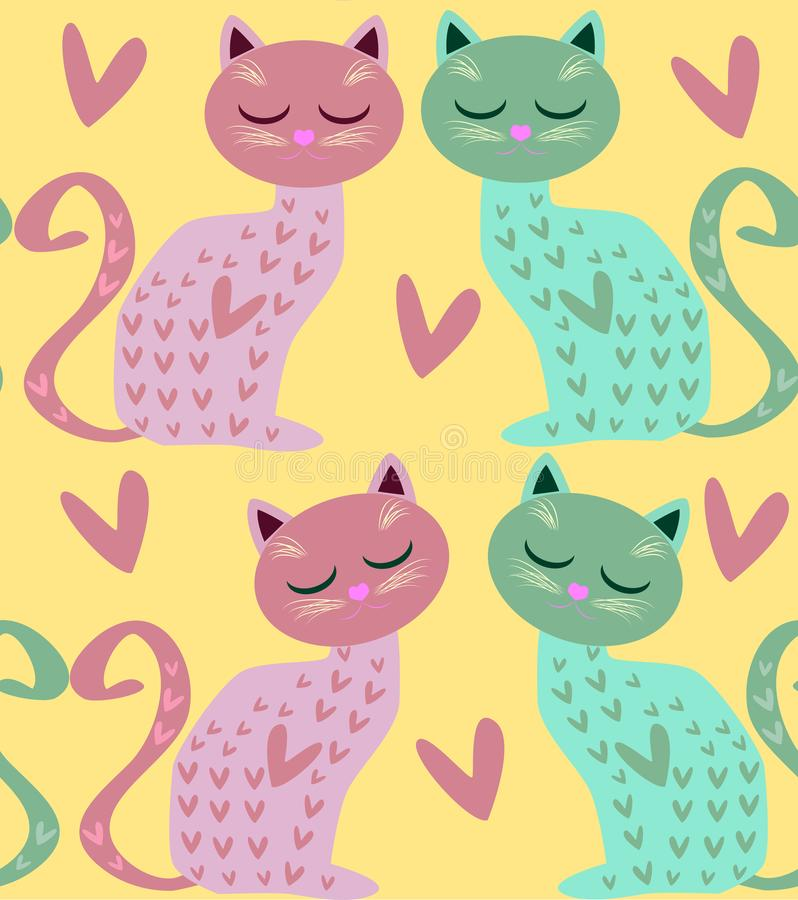 Cute seamless background with funny cats and flowers in cartoon style royalty free illustration