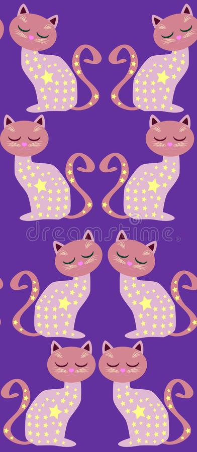 Cute seamless background with funny cats and flowers in cartoon style. Cute seamless background with funny cats and hearts in cartoon style royalty free illustration