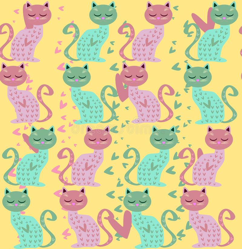 Cute seamless background with funny cats and flowers in cartoon style. Cute seamless background with funny cats and hearts in cartoon style stock illustration