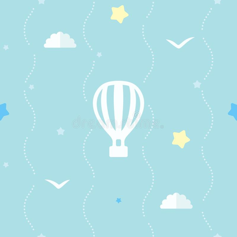 Cute seamless background with hot air balloon, stars, clouds and flying birds. Blue pattern with dotted stripes. royalty free illustration