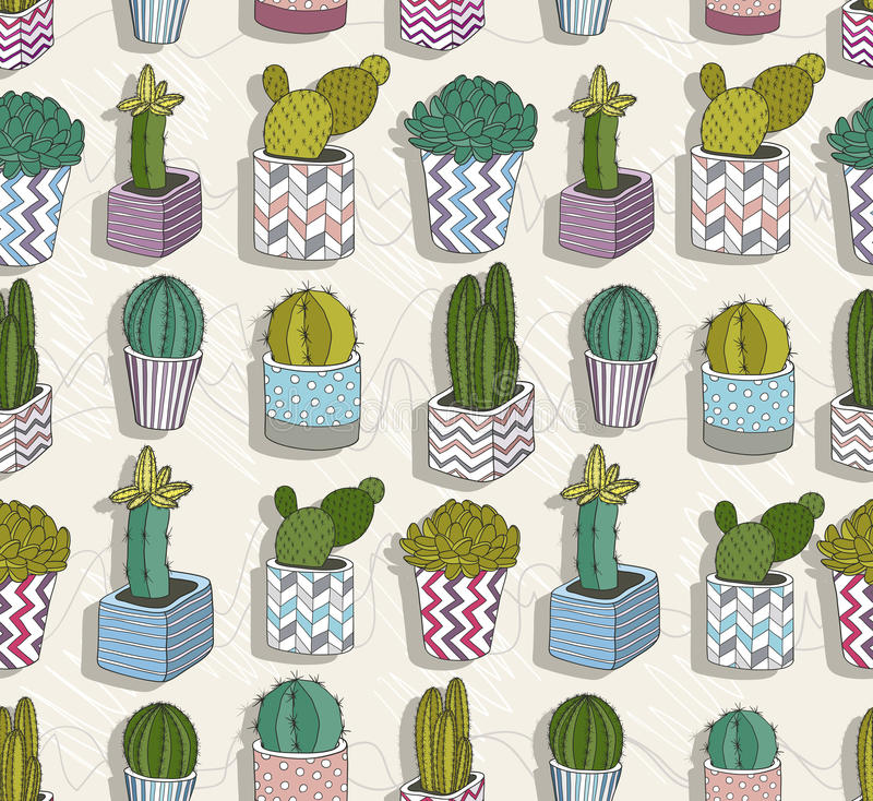 Download Cute Seamless Cactus Patter Stock Vector - Image: 39154159