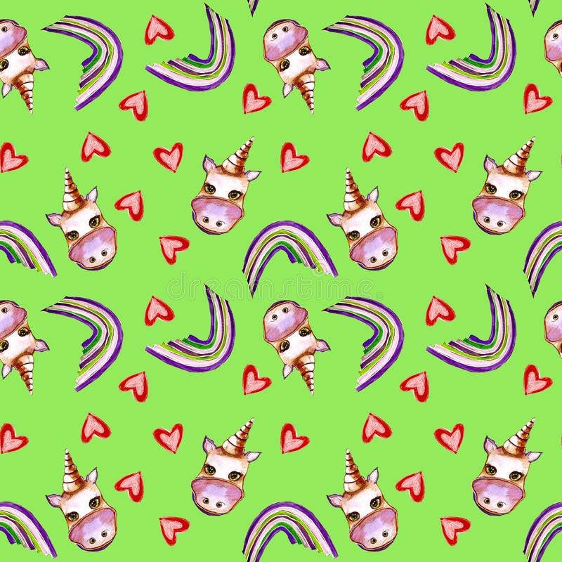 Sweet unicorn seamless pattern with hearts and rainbow royalty free stock photos