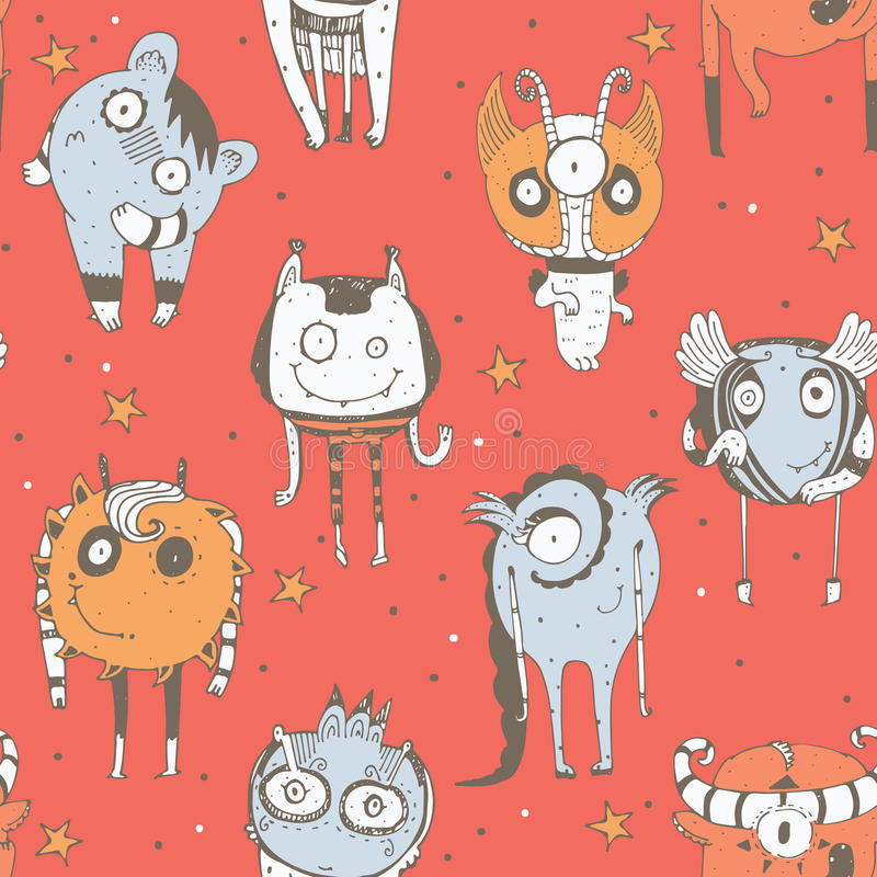 Cute seamless doodle pattern with lovely hand drawn monsters, dots and stars on red background. Vector imperfect illustration with vector illustration