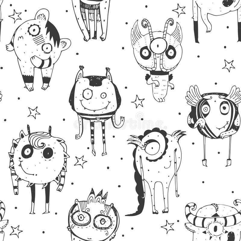 Cute seamless doodle pattern with lovely hand drawn monsters, dots and stars on white background. Vector illustration with alien stock illustration