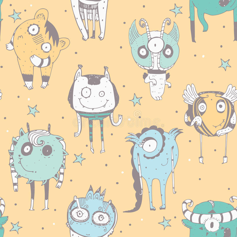 Cute seamless doodle pattern with lovely hand drawn monsters, dots and stars on yellow background. Vector illustration with alien vector illustration