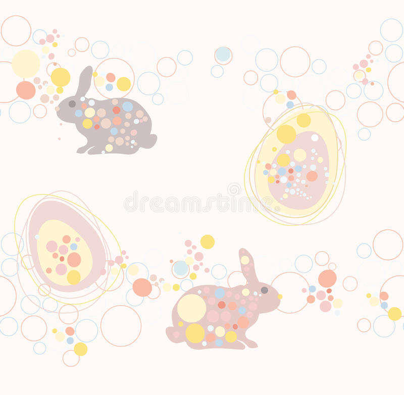 Cute seamless easter rabbit and egg pattern royalty free illustration