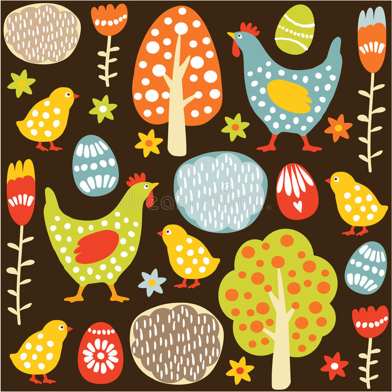 Cute seamless easter spring pattern stock illustration