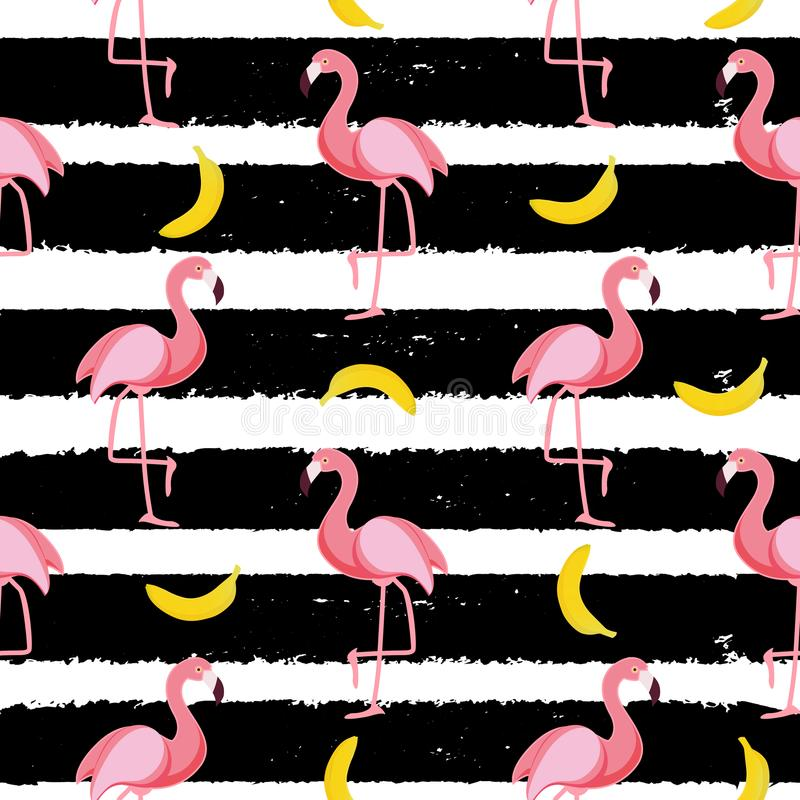 Free Cute Seamless Flamingo Pattern Vector Illustration Stock Images - 100145354