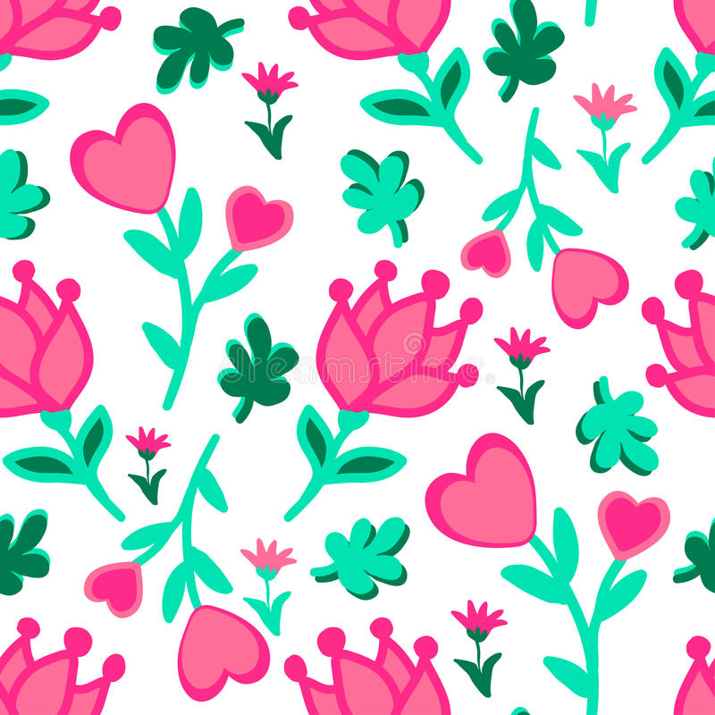 Cute seamless floral love doodles pattern. Hearts, leaves, flowers vector background vector illustration
