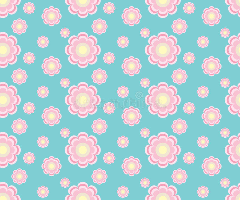 Cute seamless floral pattern flowers in blue royalty free stock image