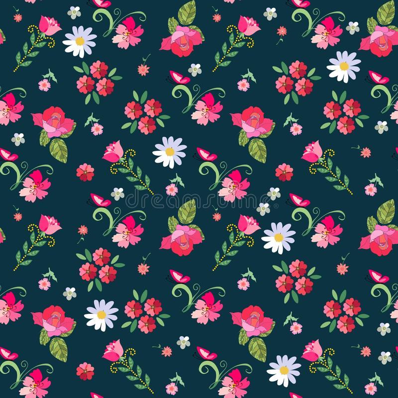 Cute seamless floral pattern with roses, mallow, daisies and butterflies on dark-blue background. stock illustration