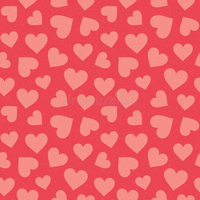 Cute seamless hearts pattern coral red royalty free illustration