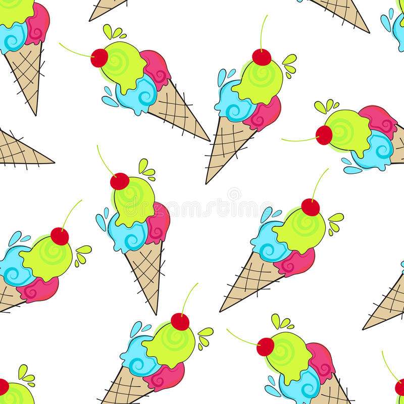 Download Cute Seamless Ice Cream Background Stock Vector - Illustration: 25848912
